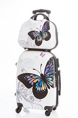 Maleta original con neceser Mariposa Blanca - Maleta 55x35x20 cm y Neceser 35x28x14 cm