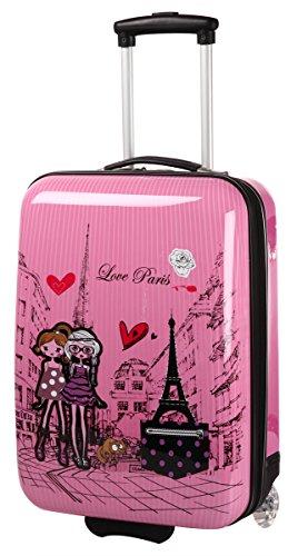 PARIS LOVE - Maleta de cabina color rosa para niña - 30L - 46cm