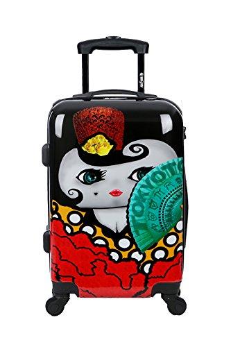 Maleta de cabina Equipaje de mano 55x40x20 Maleta juvenil trolley de viaje Ryanair Easyjet de TOKYOTO LUGGAGE Maleta de viaje Rígida FLAMENCA (Preparada para cargar Móviles) (MALETA + CARGADOR)