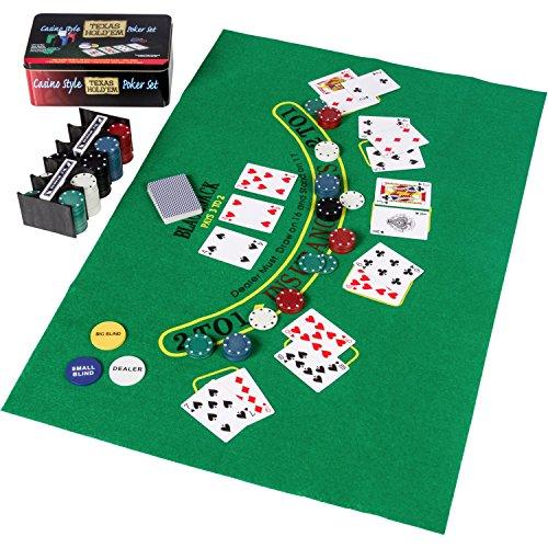 Set de póker / Blackjack en caja de metal, 200 fichas de póker, 2 cubiertas, botón de repartidor, ciega pequeña, gran ciega, tapete de juego