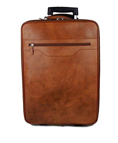 Trolley rígida maleta de cuero marron con ruedas y asa